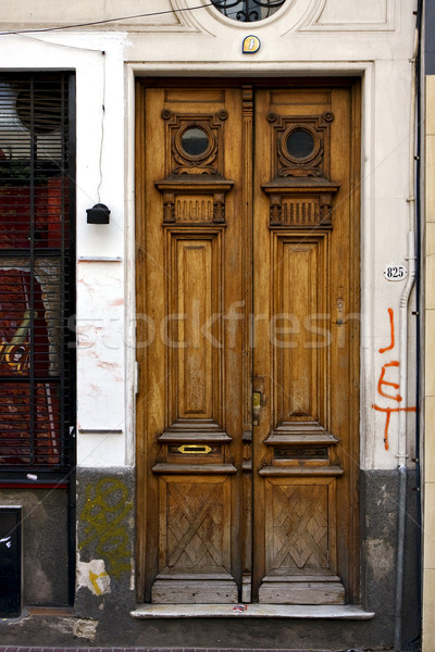 Kahverengi ahşap eski kapı merkez Buenos Aires Stok fotoğraf © lkpro