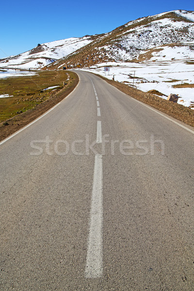 hill in   africa morocco the wild angle asphalt street white lin Stock photo © lkpro