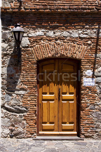 brown wood old door and a street lamp Stock photo © lkpro