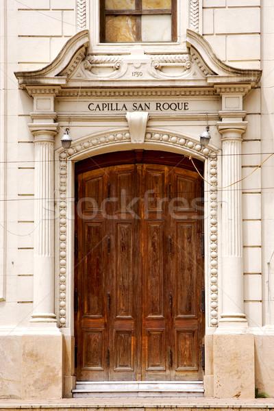brown wood old door of a church capilla san roque  Stock photo © lkpro
