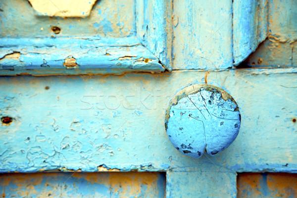 Fas Afrika eski ahşap paslı güvenli asma kilit Stok fotoğraf © lkpro