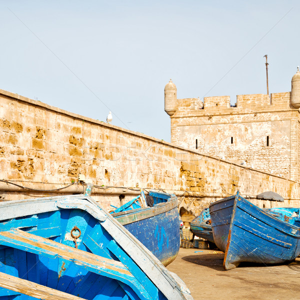 boat and sea in africa morocco old castle brown brick  sky Stock photo © lkpro