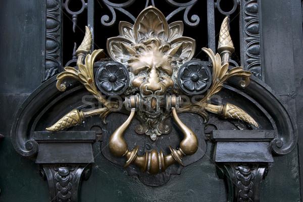 brass brown knocker in a green  door Stock photo © lkpro