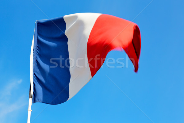 Fransız bayrak mavi gökyüzü Fransa dalga Stok fotoğraf © lkpro