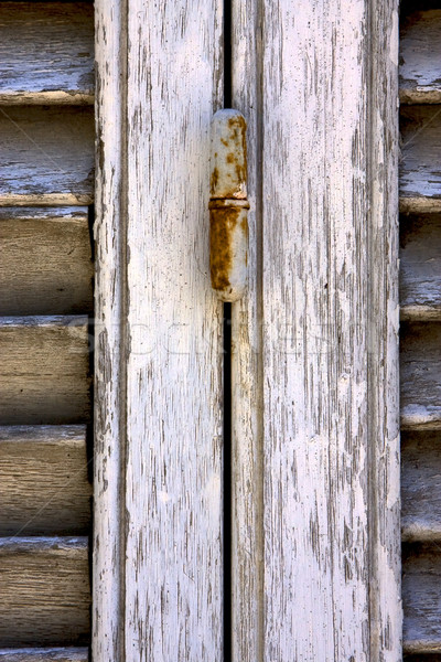 Roestige bruin hout jaloezie Blauw zwarte Stockfoto © lkpro