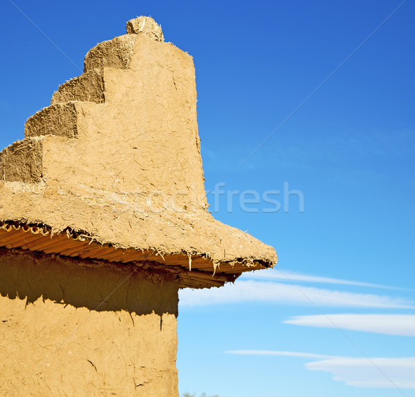 brown old  construction in  africa morocco and  clouds  near the Stock photo © lkpro