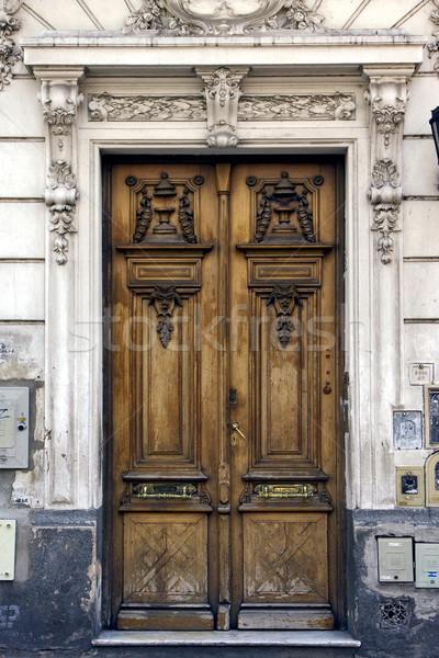 Bruin hout oude deur Argentinië centrum Stockfoto © lkpro