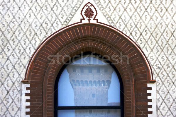 castello sforzesco in una finestra Stock photo © lkpro