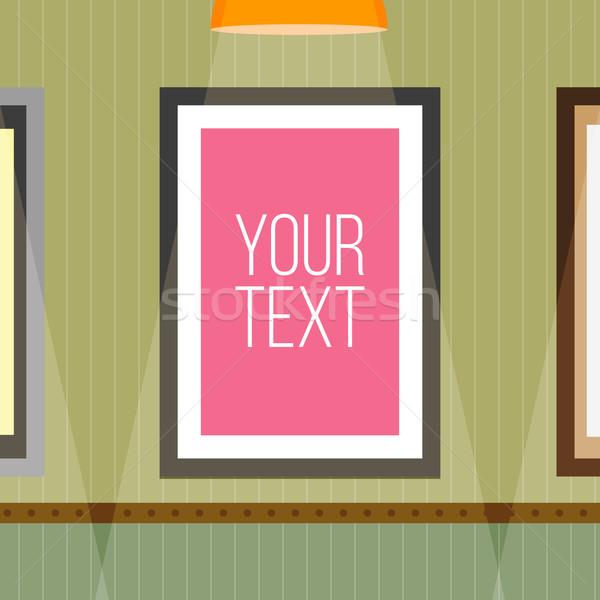 шаблон плакат кадр стены полосатый обои Сток-фото © logoff