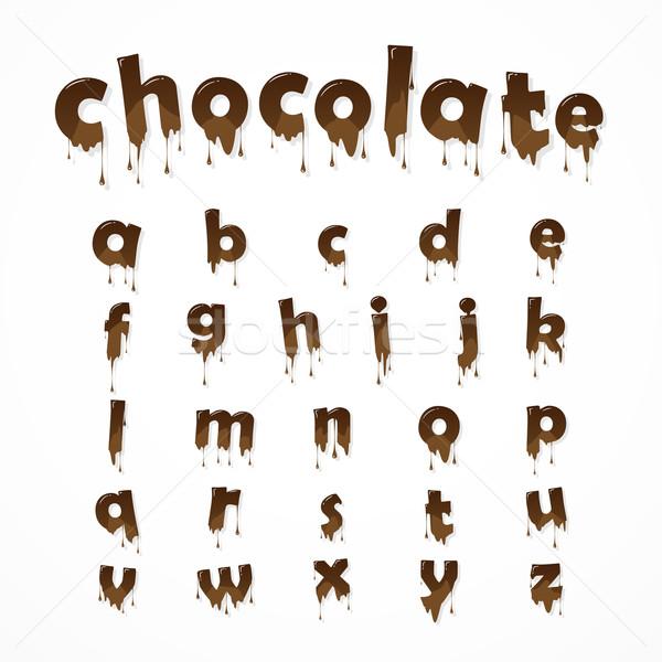 Olvadt csokoládé ábécé fehér levelek 26 Stock fotó © logoff