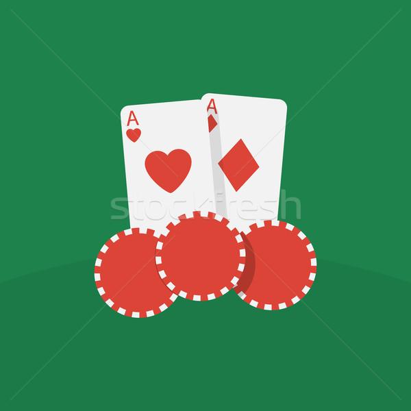 Kaszinó kártyák sültkrumpli absztrakt háló siker Stock fotó © logoff
