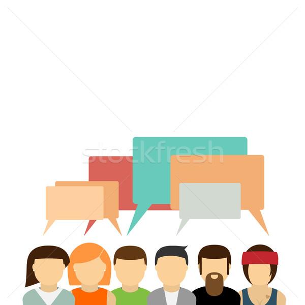 иконки группа людей связи служба счастливым Сток-фото © logoff