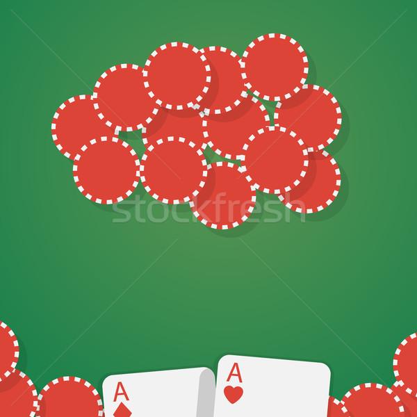 Aces jogos de azar batatas fritas assinar terno pôquer Foto stock © logoff