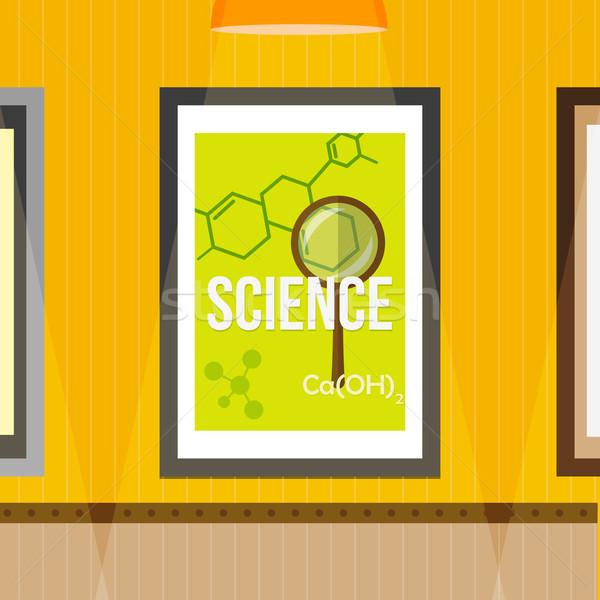 Tudomány poszter keret fal citromsárga csíkos Stock fotó © logoff