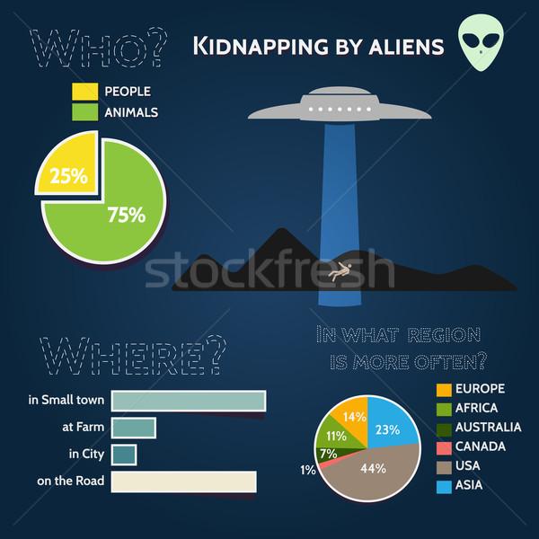 UFO jókedv infografika papír fény űr Stock fotó © logoff