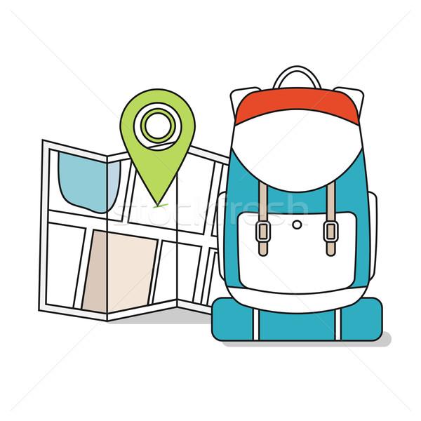 Reizen kaart rugzak lijn iconen toeristische Stockfoto © logoff
