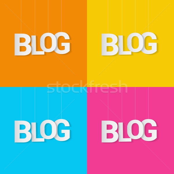 Stock photo: Paper word blog hanged on string over color background. Vector illustration.