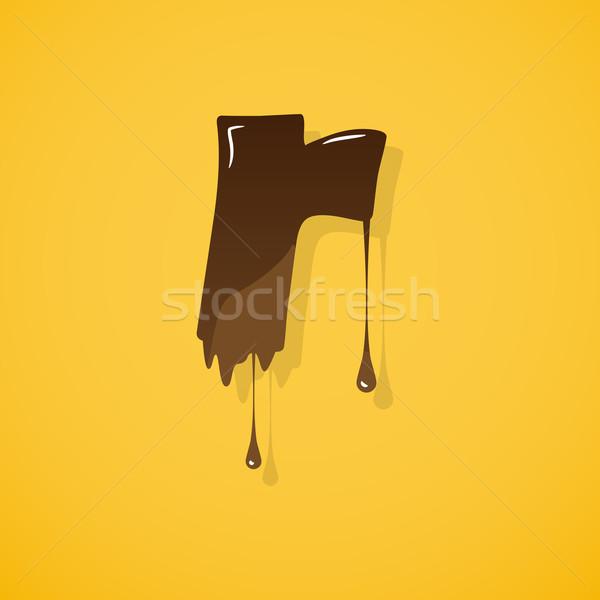 Csokoládé levél vektor r betű citromsárga sötét Stock fotó © logoff