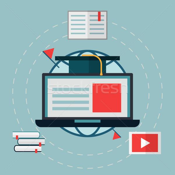 ノートパソコン 世界 学生 帽子 画像 を ストックフォト © logoff