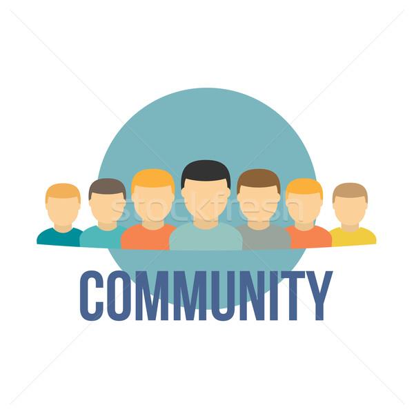 Felhasználó ikonok közösség stílus illusztráció papír Stock fotó © logoff