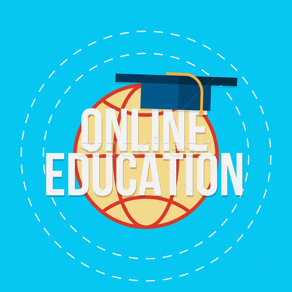 Сток-фото: онлайн · образование · земле · Hat · текста