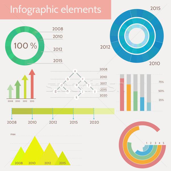 Szett infografika sablonok absztrakt háttér művészet Stock fotó © logoff