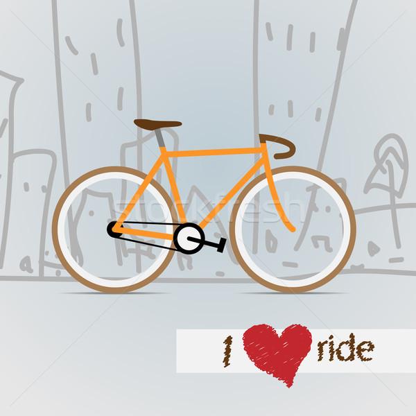 Város bicikli vektor sport szív narancs Stock fotó © logoff