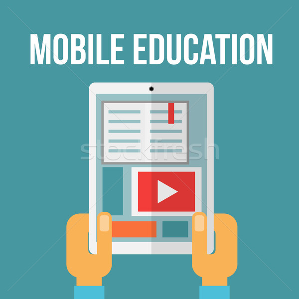 Mobil oktatás kéz könyv internet terv Stock fotó © logoff
