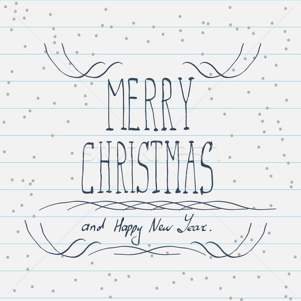 рисованной веселый Рождества эскиз стороны дизайна Сток-фото © logoff