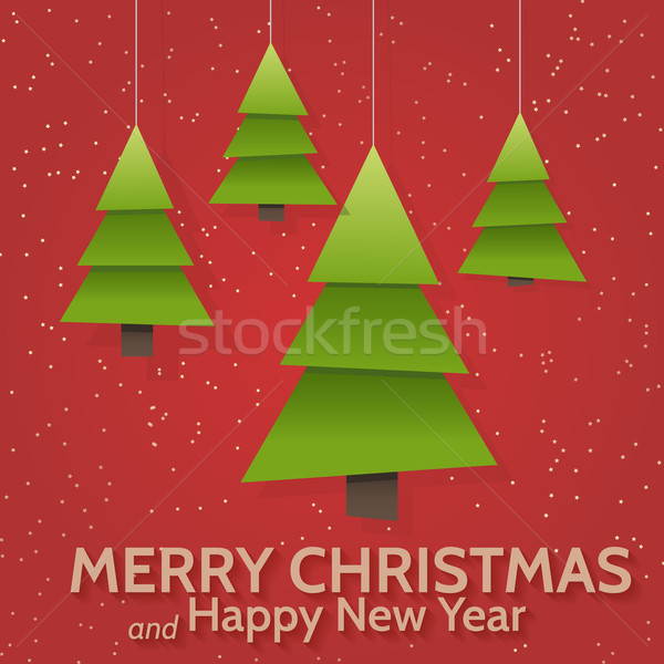 Karácsony üdvözlőlap papír fa hó háttér Stock fotó © logoff