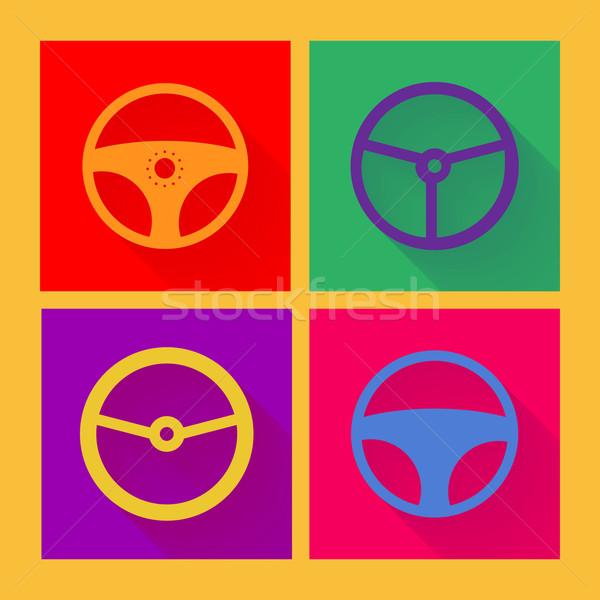 автомобилей колесо икона стиль дизайна синий Сток-фото © logoff
