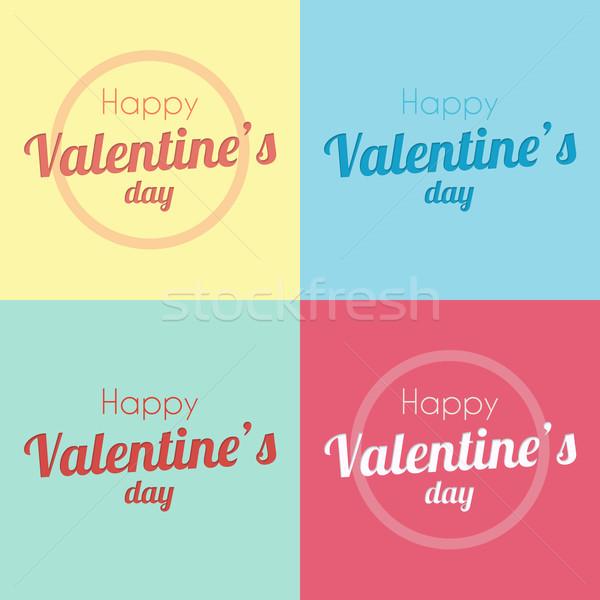 Boldog valentin nap papír vág stílus színek Stock fotó © logoff