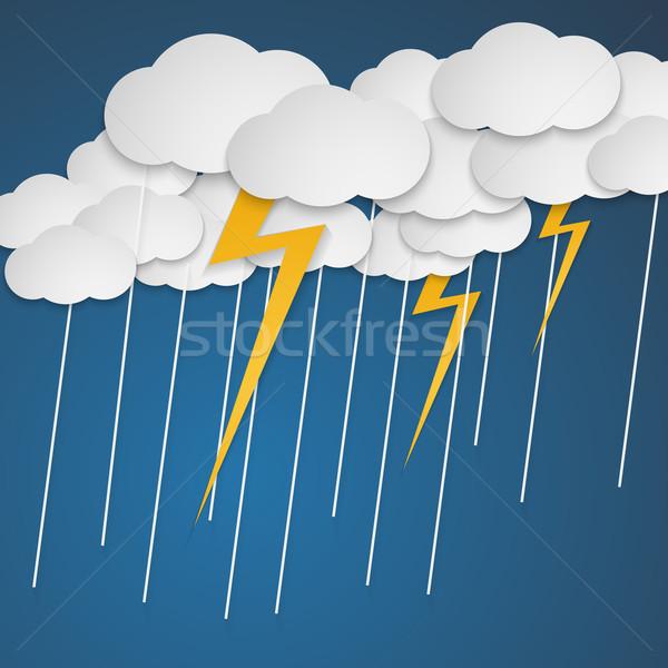 Fulmini pioggia nubi cartoon stile natura Foto d'archivio © logoff