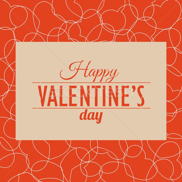 Valentin nap kártya szívek szeretet retro ünnep Stock fotó © logoff