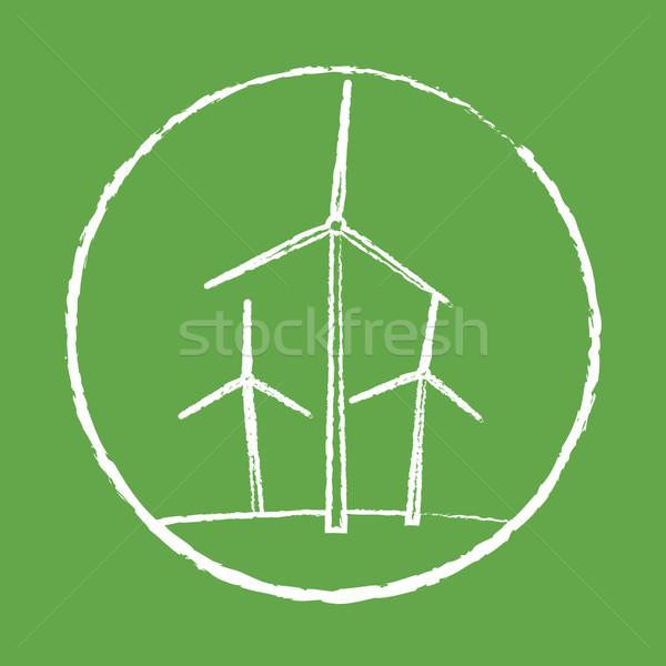 Szélturbina háttér Föld felirat energia szél Stock fotó © logoff