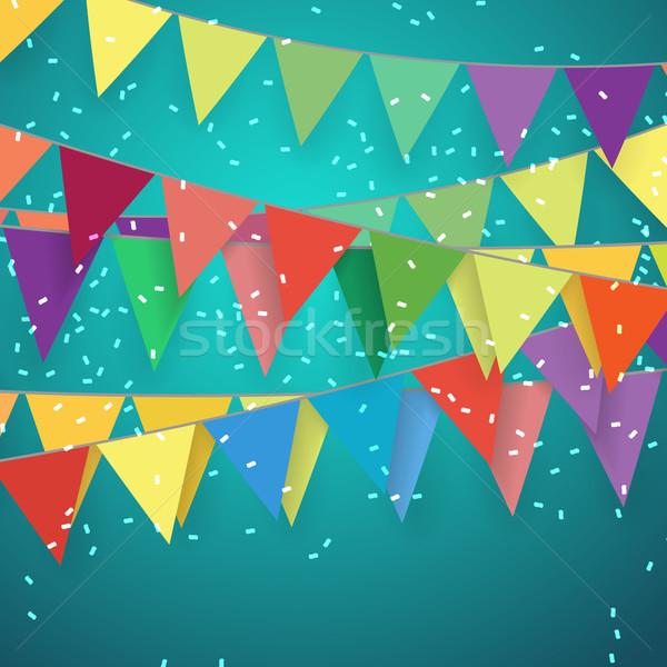 флагами детей счастливым аннотация фон Сток-фото © logoff
