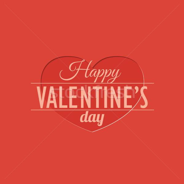 Valentin nap képeslap stílus papír szeretet szív Stock fotó © logoff