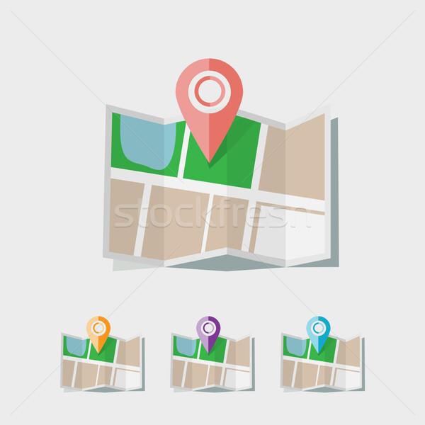 Térkép ikon város terv otthon háttér Stock fotó © logoff