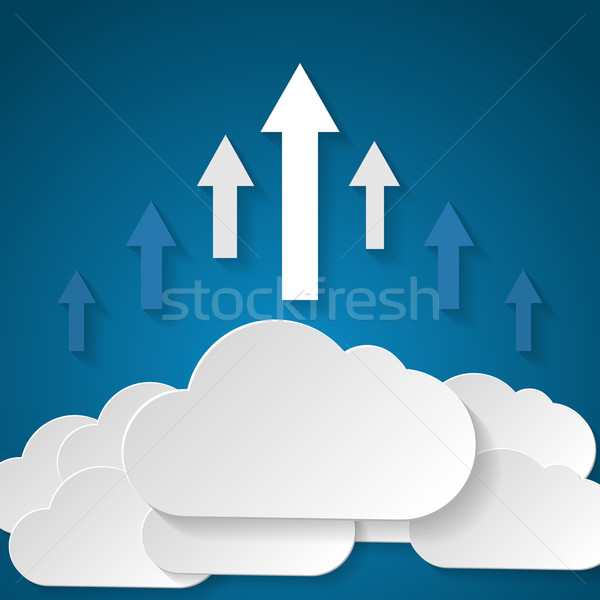雲 アップロード アプリケーション デザイン サーバー 青 ストックフォト © logoff