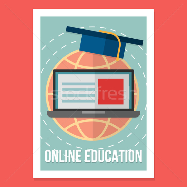 Online education poster. Illustration wit vintage colors in modern flat style Stock photo © logoff