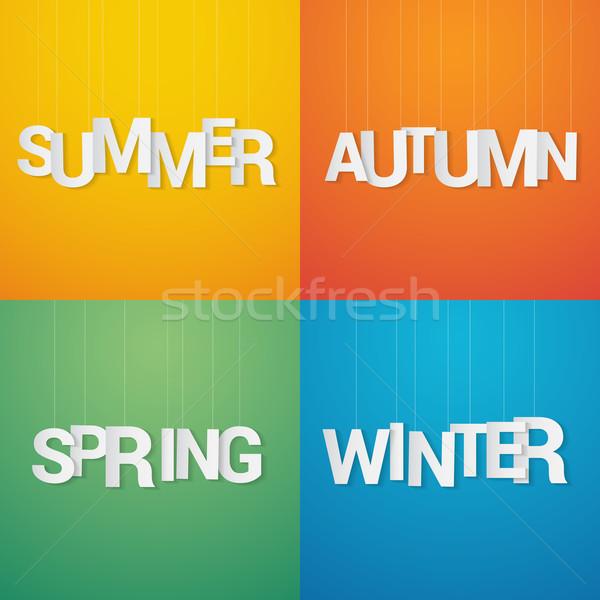 Négy évszak tavasz nyár ősz tél papír Stock fotó © logoff