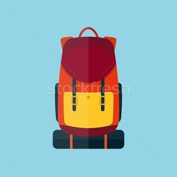 Hátizsák stílus ikon kék háló utazás Stock fotó © logoff