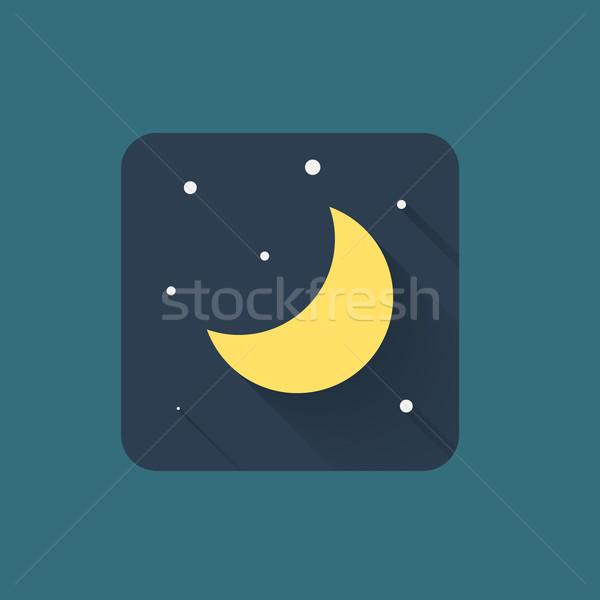 Hold ikon természet terv felirat csillagok Stock fotó © logoff