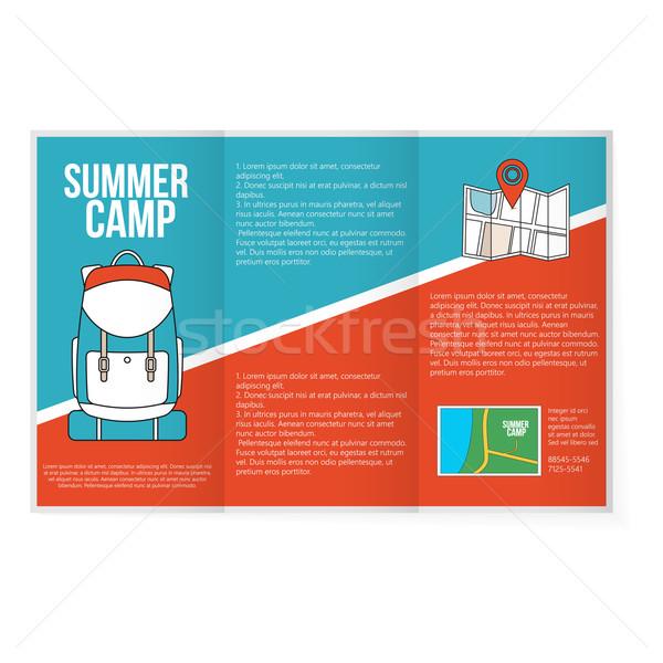 путешествия карта рюкзак Flyer рекламный печать Сток-фото © logoff
