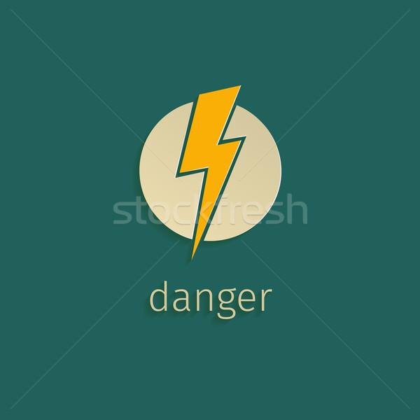 Молния икона ретро-стиле знак веб зеленый Сток-фото © logoff