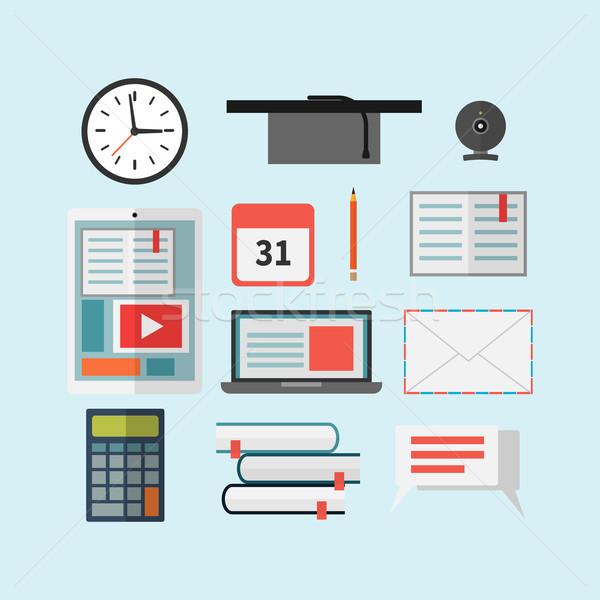 Szett oktatás ikon szett ikonok laptop tabletta Stock fotó © logoff