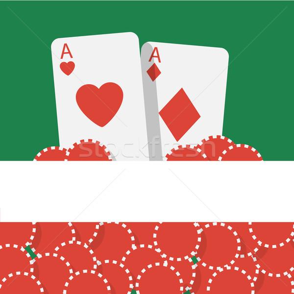Vektor póker kártyapakli sültkrumpli művészet zöld Stock fotó © logoff