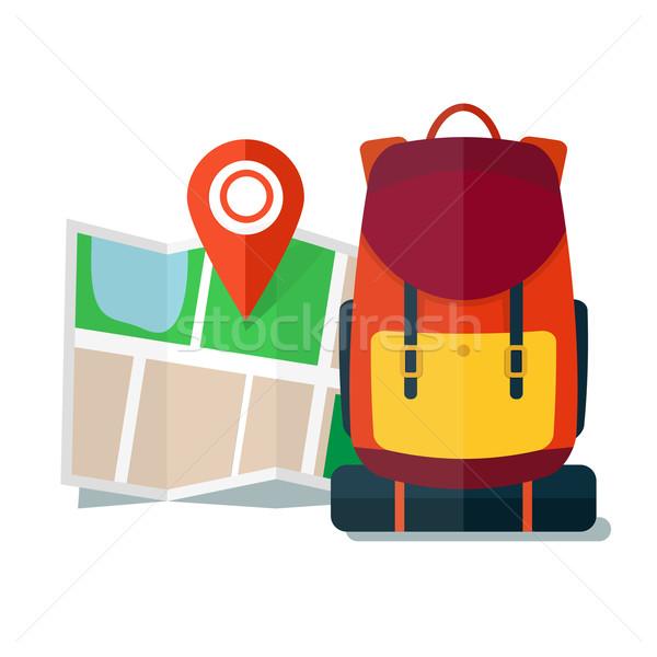 Utazás térkép hátizsák ikonok turista városnézés Stock fotó © logoff