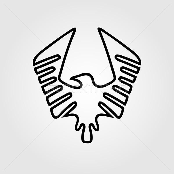 Sas szimbólum terv felirat fekete sziluett Stock fotó © logoff