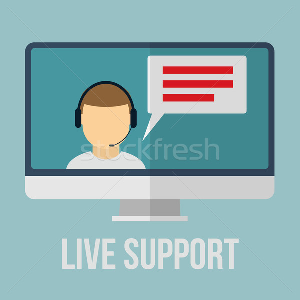 Technical support concept with human icon and monitor. Flat design vector illustration.  Stock photo © logoff